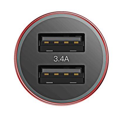 Автомобильное зарядное устройство Baseus Small Screw 2USB (3.4A) (CAXLD-C09) Red