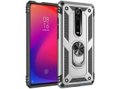 Чехол-накладка для Xiaomi Mi9T / K20 Honor Hard Defence Ring Series Silver