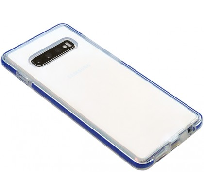 Чехол-накладка для Samsung S10 (G973) силикон Clear with blue line