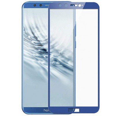 Защитное 2D стекло для Huawei Honor 9 Lite (c рамкой Blue)