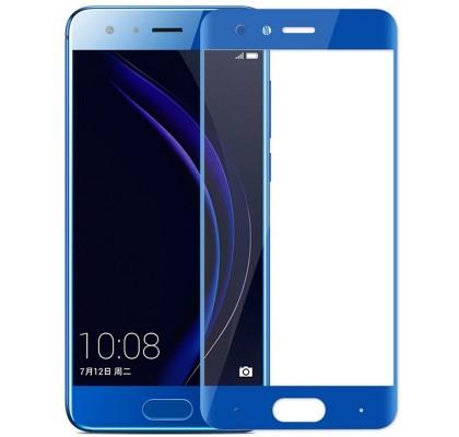 Защитное 2D стекло для Huawei Honor 9 (с рамкой Blue)