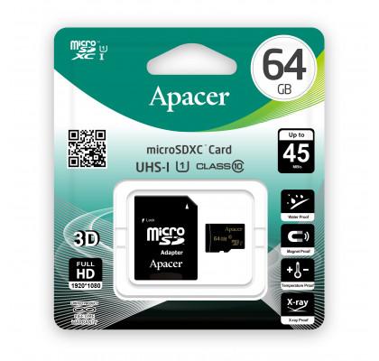Карта памяти Apacer microSD 64Gb class 10