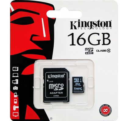 Карта памяти Kingston microSD 16Gb class 10 + SD