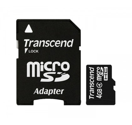Карта памяти Transcend microSD 4Gb class 4 + SD